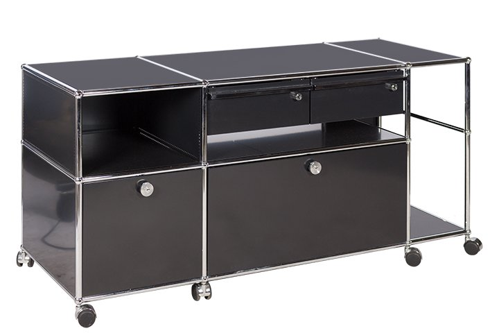 sideboard auf rollen von usm haller in graphitschwarz mit h ngeregist. Black Bedroom Furniture Sets. Home Design Ideas