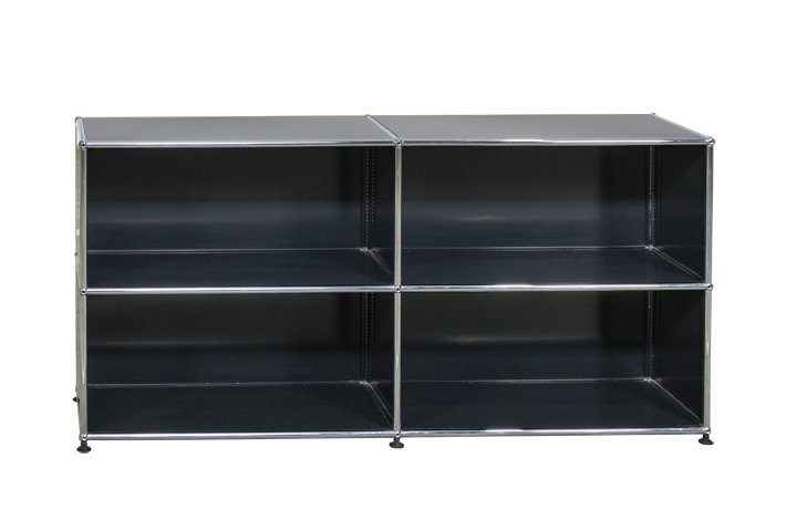 sideboard von usm haller in graphitschwarz 4 offene f cher 720 00. Black Bedroom Furniture Sets. Home Design Ideas