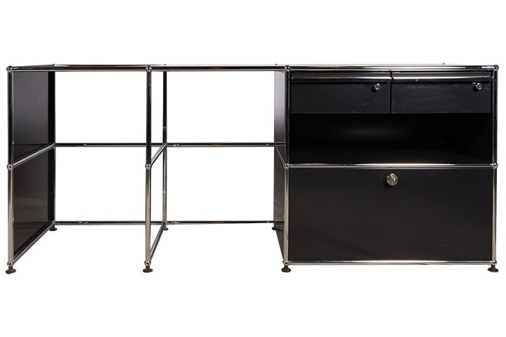 sideboard von usm haller in graphitschwarz mit. Black Bedroom Furniture Sets. Home Design Ideas